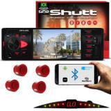 Kit MP5 Player Shutt Los Angeles 1 Din 4 Pol Bluetooth USB MP3 MP5 FM + Sensor Ré 4 Pontos Vermelho