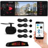 Kit MP5 Player Shutt Los Angeles 1 Din 4 Pol Bluetooth USB MP3 + Sensor Preto e Câmera Ré 4 Pontos