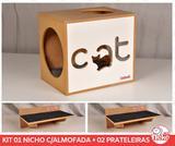 Kit Nicho Gatos C/almofada + 2 Prateleiras - Fte Branca - Cat - Nekocat