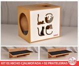 Kit Nicho Gatos C/almofada + 2 Prateleiras - Fte Branca - Love - Nekocat