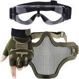 Kit Óculos X800 Paintball + Máscara Telada + Luva Meio Dedo Slim - Verde - Renascença