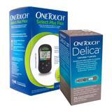 Kit OneTouch Aparelho Medidor Select Plus Flex Ganhe Lanceta Delica 25 Unidades