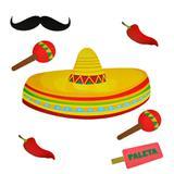 Kit Painel Enfeite para Decoração Sombrero Festa Mexicana Paper Fest - Festabox