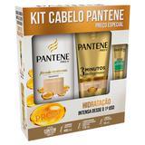 Kit Pantene Shampoo Hidratação 400ml + Condicionador 3 Minutos Milagrosos 170ml + Ampola 15ml