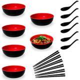 Kit para Sopa Japonesa com 6 Tigelas 450 Ml + 6 Colheres Melamina + 6 Pares de Hashi Preto  Fuxing