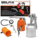 Kit Pintura para Compressor de Ar Belfix com Calibrador de Pneu Manômetro Mangueira 900ML 5 Peças - Bel fix