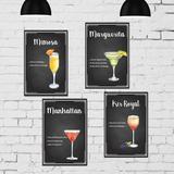 Kit Placa Decorativa MDF Receitas Drinks Taças 4un 30x40 - Quartinhos