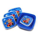 Kit pote marmita para lanche 4 em 1 escolar infantil linha filhotinhos menino jacki design urso