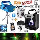 Kit Projetor Laser Holográfico Efeitos Strobo Luz + Caixa Som Portátil Mp3 Rádio Fm Sd Bluetooth Celular Festas Natal - Leffa shop