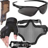 Kit Proteção - Máscara Meia Face Telada + Óculos Nemesis Escuro + Luva Tática Meio Dedo + Acessórios - Cor Preta - Renascença