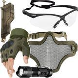 Kit Proteção - Máscara Meia Face Telada + Óculos Nemesis Transparente + Luva Tática Meio Dedo + Acessórios - Cor Verde - Renascença