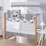 Kit Protetor De Berço Trança Urso Panda Menino Menina Com Saia - Doce lar enxovais