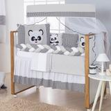Kit Protetor De Berço Trança Urso Panda Menino Menina Com Saia - Ibimais enxovais
