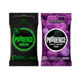 Kit prudence preservativo neon 3 unidades + preservativo uva lubrificado 3 unidades