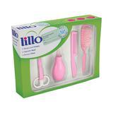 Kit recém nascido lillo rosa - tesoura + aspirador + escova + pente
