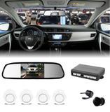 Kit Sensor De Estacionamento Branco + Camera Ré + Retrovisor - Import agf