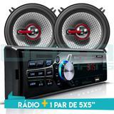 Kit Som Auto Radio Bluetooth Mp3 Usb + 2 Falantes 5 Pol 110W RMS - First option