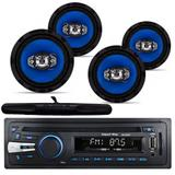 Kit Som Automotivo Radio Mp3 Usb + 4 Falante 6 + Antena - Import agf