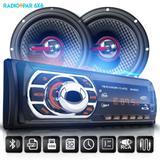 Kit Som Carro Radio Bluetooth Mp3 Usb + 2 Alto Falante 6 Pol 110W RMS - Uberparts