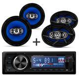 Kit Som Radio Mp3 Com Controle + Alto Falantes 6 + 6x9 Orion - Multi marcas