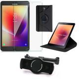 Kit Suporte Tablet Carro Galaxy Tab A 8.0' T380/T385 + Película Vidro +Capa Giratória - Armyshield