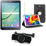 Kit Suporte Tablet Carro Galaxy Tab S2 8.0' T715 + Película Vidro +Capa Giratória - Armyshield