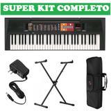 Kit Teclado Musical Arranjador PSR F51 Yamaha com Fonte BiVolt + Suporte teclado X + Bolsa protetora