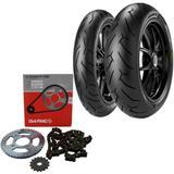 Kit Transmissão + Par Pneu Cb 300 140/70r17 + 110/70R17 Tl Diablo Rosso II Pirelli - Pirelli e dia-frag