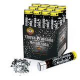 Lança Confetes Chuva Papel Metalizado Prata 30cm 12 unidades SilverFestas - Festabox