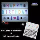 Letreiro Quadro Led Light Box A4+181 Letras Preto/colorido - Joy