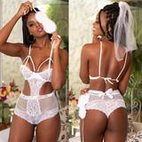 Lingerie Fantasia Body Feminina Noiva Com Véu - Garota veneno