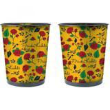 Lixeira de Metal Frida Birds And Flowers Urban Amarelo