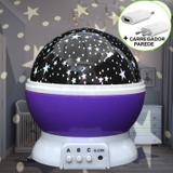 Luminária Infantil Projetor Abajur Criança Estrelas Roxo CBRN10691 - Commerce brasil