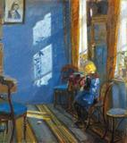 Luz do Sol no Quarto Azul - Anna Ancher - Tela 60x67 Para Quadro - Santhatela