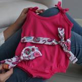 Macacão Infantil Para Menina Rosa Estampado 02 Peças Com Faixa P ao 03 - Nena variedades