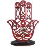 Mão de Hamsá na Base Mini Vermelho Mdf 9,5cm - Mandala de luz