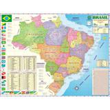 Mapa do Brasil Político, Estatísitco e Rodoviário 120 x 90 cm Dobrado - Multimapas