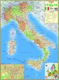 Mapa Geo Político Gigante Da Itália Tamanho 120 CM X 90 CM - Multimapas