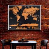 Mapa Mundi De Raspar Grande 82x59 Scratch Deluxe Raspadinha - Bola azul