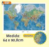 Mapa Mundi em Painel de Lona - Modelo 7 - Micro oficina