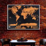 Mapa Mundi Raspar Viagens Raspadinha Scratch Map 80x60 Quadro - Braslu