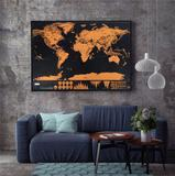 Mapa Mundi Raspar Viagens Raspadinha Scratch Map 80x60cm Quadro Presente - Ab midia