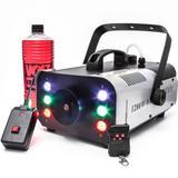 Máquina Fumaça 1200w Turbo Iluminação Led RGB 220v + Líquido - Luatek