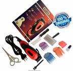 Maquina Tosa WAIKIL Kit Caes Gatos Cachorro 110v Pentes tesoura kit