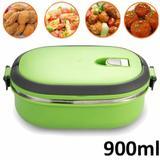 Marmita térmica aço inox para comida 1 compartimentos  900 ML VERDE CBRN02542 - Commerce brasil