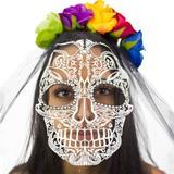 Mascara de Caveira Mexicana com Tiara e Véu - Sulamericana