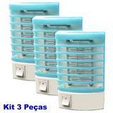 Mata mosquito e pernilongo LED UV kit 3 peças azul CBRN05567 - Commerce brasil