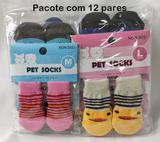 Meias Pets Sortidos Para Cachorro Sapatinhos Antiderrapantes -12 Kits Com 04 Meias Atacado - Happy pet