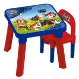 Mesa Com Cadeira Infantil Fun Patrulha Canina Azul E Vermelha