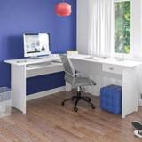 Mesa Escrivaninha Para Escritório Em L Branca Espaçosa Moderna Com Gaveta e Com Suporte para Teclado - Artely